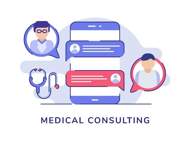Concepto de consultoría médica con médico y paciente charlando en un teléfono inteligente con estilo plano