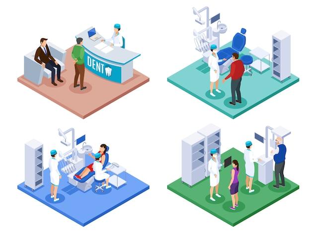 Concepto de consultorio del dentista 4 composiciones isométricas con procedimiento de revisión en el mostrador de recepción consejo prescripción escaneo 3d