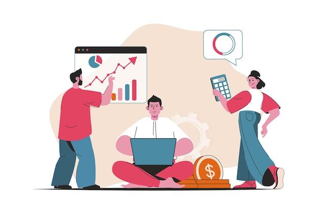 Concepto de contabilidad aislado. análisis de datos financieros y gráfico de analítica empresarial. escena de personas en diseño plano de dibujos animados. ilustración vectorial para blogs, sitios web, aplicaciones móviles, materiales promocionales.