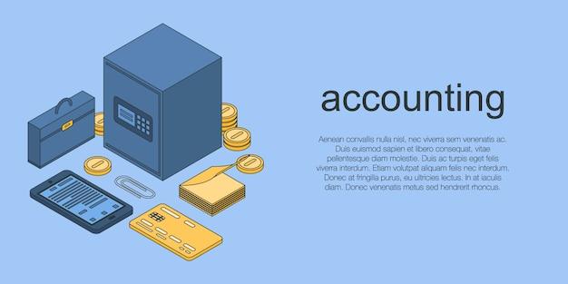 Concepto de contabilidad banner, estilo isométrico