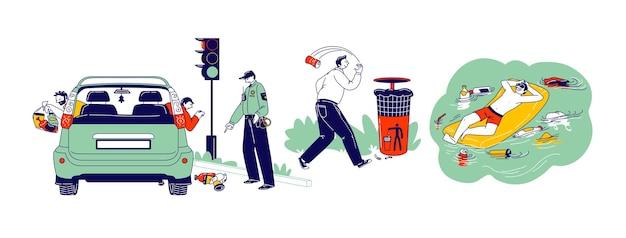 Concepto de contaminación. los personajes tiran basura en la calle. conductor tirando basura por la ventanilla del coche, aviso policial. hombre flotando sobre un colchón inflable con basura alrededor. ilustración de vector de personas lineales