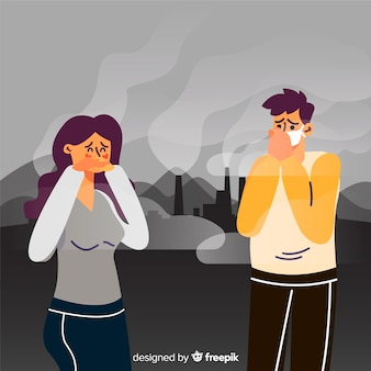 Concepto de contaminación con personas frente a planta de energía.