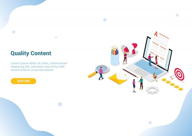 Concepto de contenido de alta calidad para plantilla de sitio web o página de inicio de aterrizaje