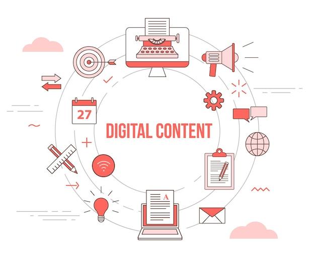 Concepto de contenido digital con banner de plantilla de conjunto de iconos