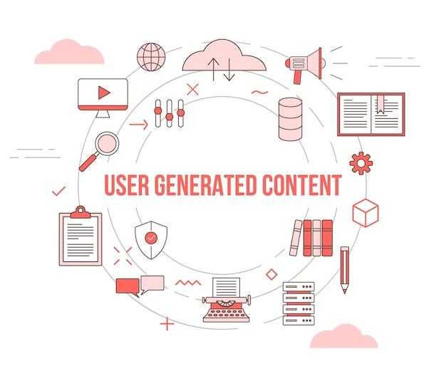 Concepto de contenido generado por el usuario de ugc con banner de plantilla de conjunto de iconos