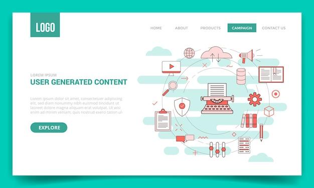 Concepto de contenido generado por el usuario de ugc con el icono de círculo