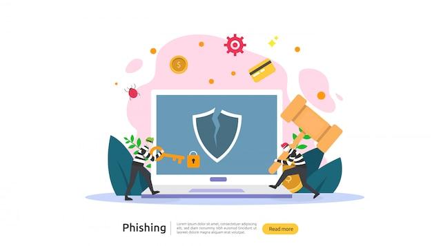 Concepto de contraseña phishing ataque concepto de página de aterrizaje