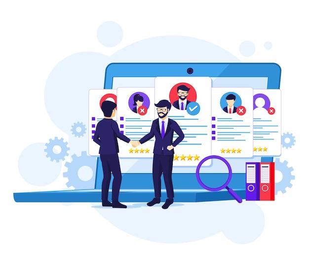 Concepto de contratación, empresario y empleador acordaron y completaron el trato con la ilustración de manos temblorosas