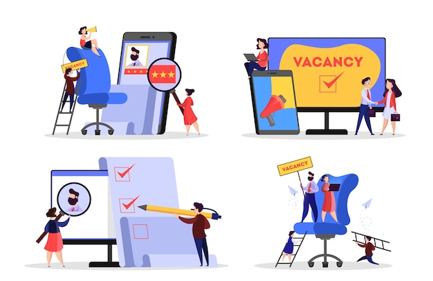 Concepto de contratación. idea de empleo y humano