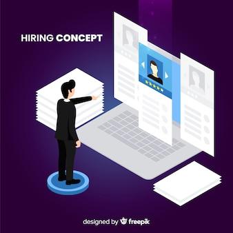 Concepto contratación isométrico
