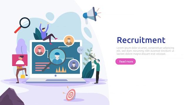 Concepto de contratación laboral y contratación en línea con carácter de gente pequeña. entrevista de agencia. seleccione un proceso de reanudación. plantilla para página de destino web