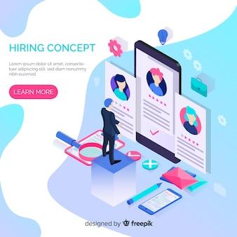 Concepto de contratación de personal en isométrico