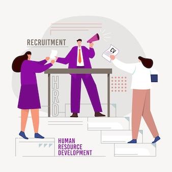 Concepto de contratación con personas contratando