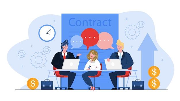 Concepto de contrato. acuerdo oficial, idea de sociedad y negocio corporativo. ilustración de dibujos animados