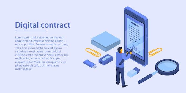 Concepto de contrato digital banner, estilo isométrico.
