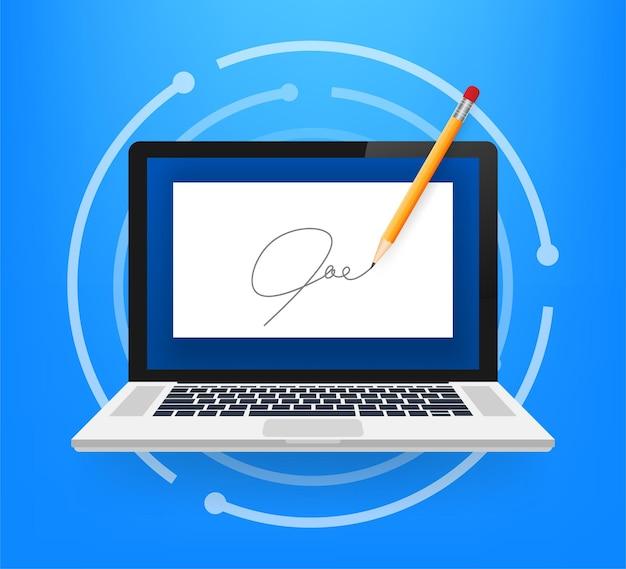 Concepto de contrato electrónico o firma digital. ilustración de stock vectorial.