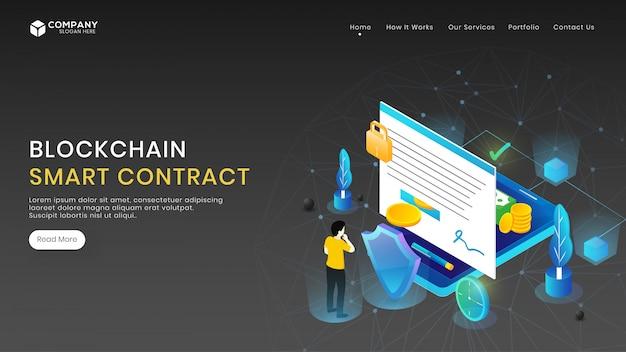 Concepto de contrato inteligente con carácter y equipamiento diferente.