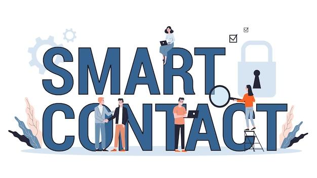 Concepto de contrato inteligente. documento comercial digital con firma electrónica. tecnología moderna y blockchain. ilustración