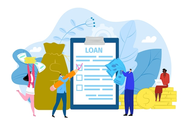 Concepto de contrato de préstamo bancario, ilustración. acuerdo sobre documento en papel, gente diminuta con contratos financieros bancarios y dinero. préstamo exitoso en negocios, compras, seguros legales.