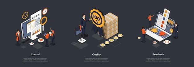 Concepto de control de calidad del producto. conjunto.