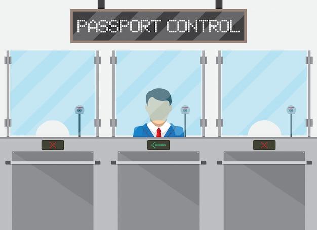 Concepto de control fronterizo, oficial de inmigración
