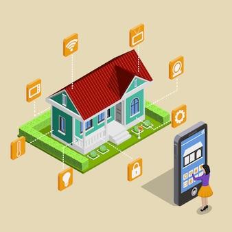 Concepto de control remoto de la casa