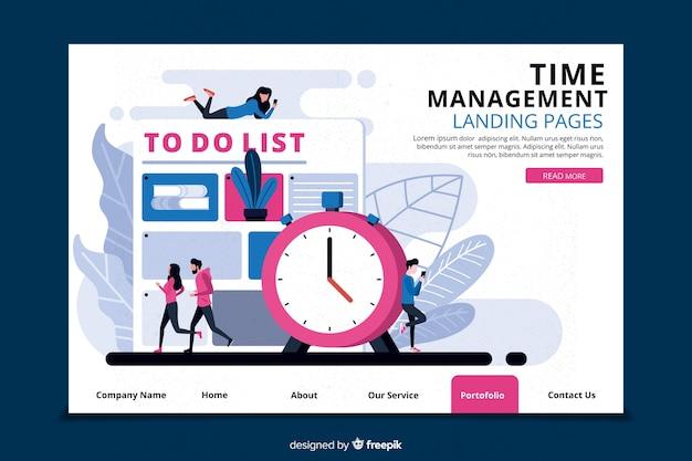Concepto de control del tiempo para landing page