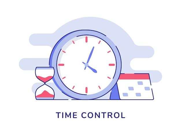 Concepto de control de tiempo reloj reloj de arena calendario