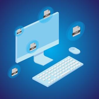 Concepto de conversión de archivos con ordenador. estilo isométrico. vector.