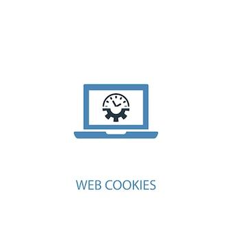 Concepto de cookies web 2 icono de color. ilustración simple elemento azul. diseño de símbolo de concepto de cookies web. se puede utilizar para ui / ux web y móvil