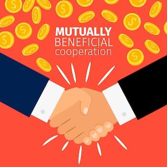 Concepto de cooperación empresarios estrechándose las manos bajo la lluvia de monedas de oro
