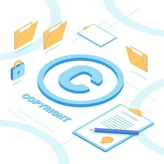 Concepto de copyright isométrico ilustrado