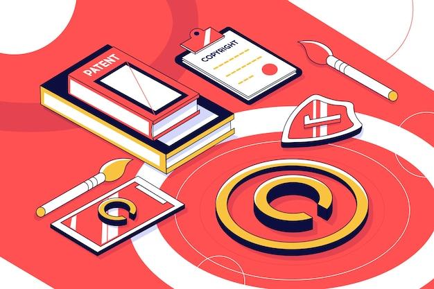 Concepto de copyright isométrico con teléfono