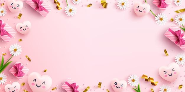 Concepto con corazones dulces, flores, caja de regalo rosa y elemento encantador en rosa