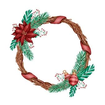 Concepto de corona de navidad acuarela
