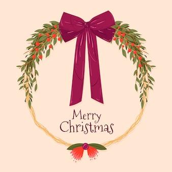 Concepto de corona de navidad dibujado a mano