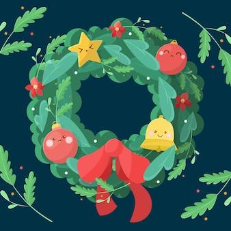 Concepto de corona de navidad en diseño plano