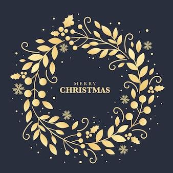 Concepto de corona de navidad dorada