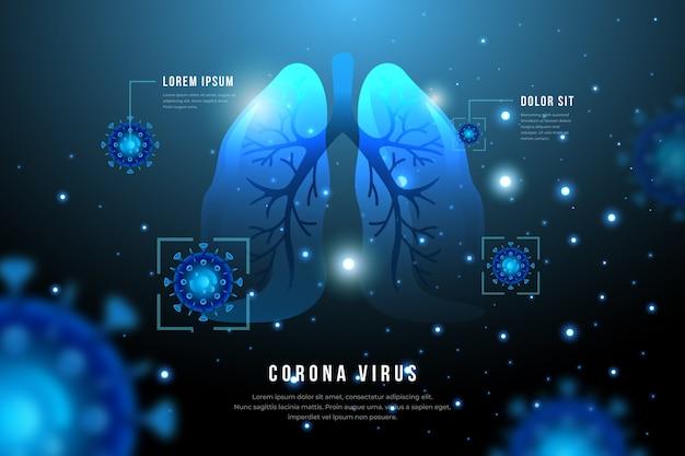 Concepto de coronavirus con pulmones e infección.