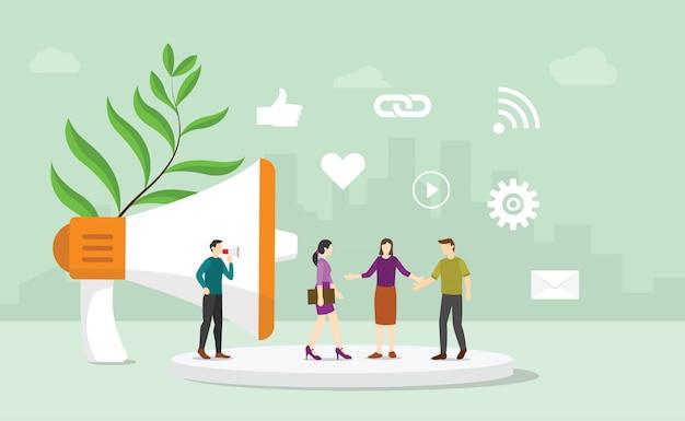 El concepto corporativo de relaciones públicas de relaciones públicas con personas del equipo se comunica con los consumidores y compradores con un estilo plano moderno - vector
