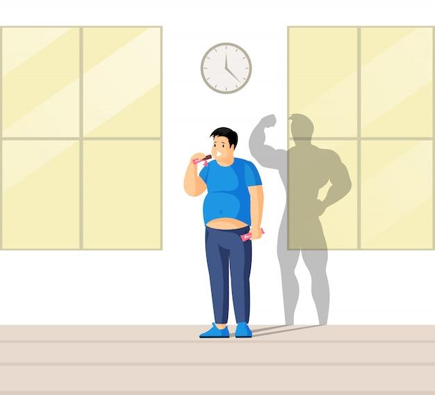 Concepto de corrección y control del apetito. amo tu cuerpo ilustración plana.