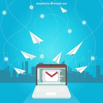 Concepto de correo electrónico con aviones de papel