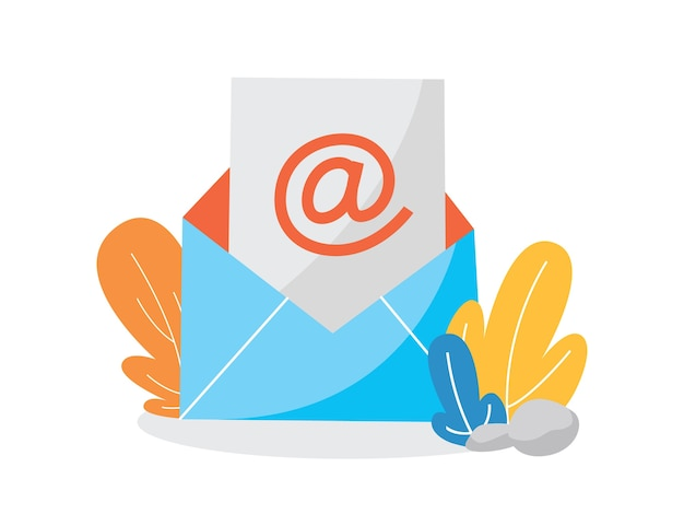 Concepto de correo electrónico o correo. recibir mensaje en buzón. notificación por correo. mensaje entrante en el sobre. ilustración