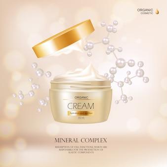 Concepto cosmético orgánico con envase de crema y cubierta dorada para publicidad en la revista de moda r
