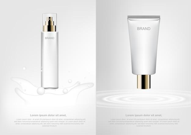 Concepto cosmético de publicidad, loción de leche y crema hidratante