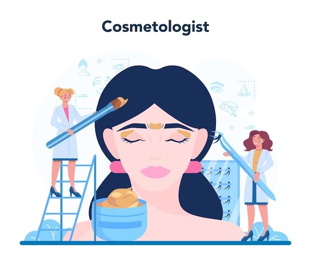 Concepto de cosmetóloga, cuidado y tratamiento de la piel.