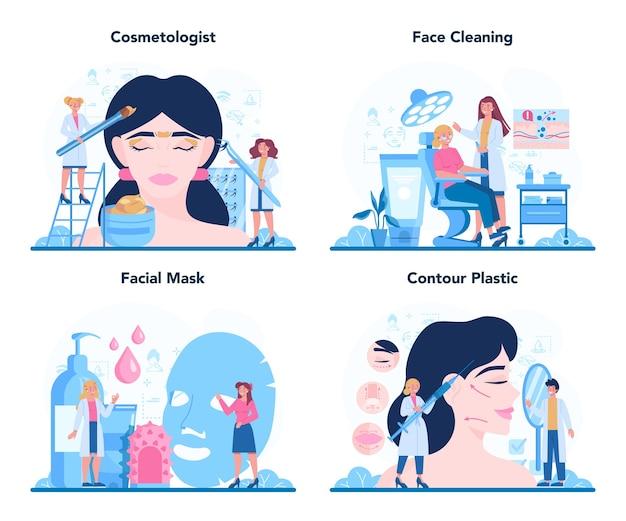 Concepto de cosmetóloga establece ilustración en estilo de dibujos animados