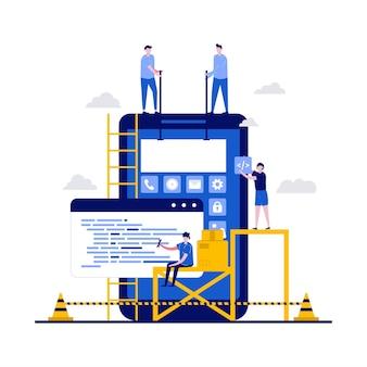Concepto de creación de aplicaciones de diseño ui ux con carácter. equipo de creadores de personas, construcción de aplicaciones móviles, desarrollo de wireframes.