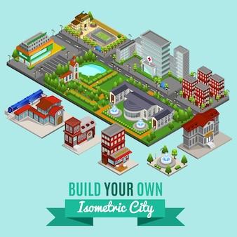 Concepto de creación de ciudad isométrica