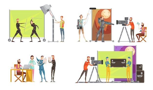 Concepto de creación de películas con los actores directores en el conjunto de filmación, cámara e ingeniero de sonido, iluminación, ilustración vectorial aislado